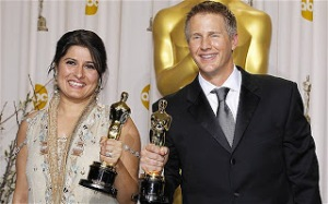 Sharmeen Obaid-Chinoy and Daniel Junge with their Academy Award for Best Documentary  for Saving Face